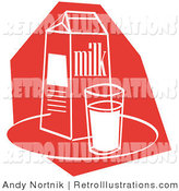 Retro Illustration of a Red and White Still Life of a Whole Glass of Milk by a Milk Carton by Andy Nortnik