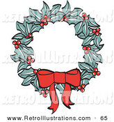 Retro Illustration of a Red Bow on a Christmas Wreath Made of Holly on White by Andy Nortnik
