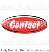 Retro Illustration of a Red Contact Internet Website Blog Button by Andy Nortnik