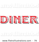 Retro Illustration of a Red Diner Sign over White by Andy Nortnik
