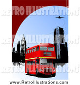 Retro Illustration of a Red Double Decker Bus, City Buildings Under a Plane by