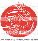 Retro Illustration of a Red Fruit Still Life with a Watermelon, Pineapple, Apple, Orange, Lemon, Grapes and Banana Clipart Illustration by Andy Nortnik