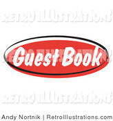 Retro Illustration of a Red Guest Book Internet Website Icon Button by Andy Nortnik