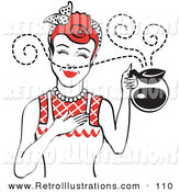 Retro Illustration of a Red Haired Female Waitress Smelling the Wonderful Aroma of Fresh, Hot Coffee While Holding a Coffee Pot by Andy Nortnik