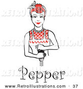 Retro Illustration of a Red Haired Housewife or Maid Woman Grinding Fresh Pepper While Making a Home Cooked Meal, with Text by Andy Nortnik