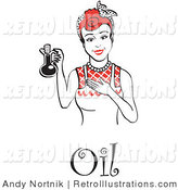 Retro Illustration of a Red Haired Housewife with Oil by Andy Nortnik