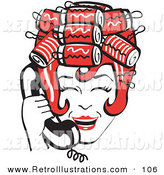 Retro Illustration of a Red Haired Housewife Woman with Her Hair up in Curlers, Laughing While Talking on a Landline Telephone by Andy Nortnik