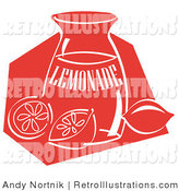 Retro Illustration of a Red Jar of Lemonade and a Sliced and Whole Lemon Resting on the Counter by Andy Nortnik