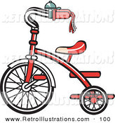 Retro Illustration of a Red New Trike Bike with a Bell on the Handlebars by Andy Nortnik