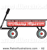 Retro Illustration of a Red Pull Wagon Retro on White by Andy Nortnik