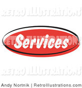 Retro Illustration of a Red Services Internet Website Blog Button by Andy Nortnik