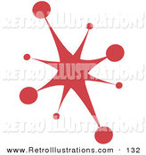Retro Illustration of a Red Starburst on White by Andy Nortnik