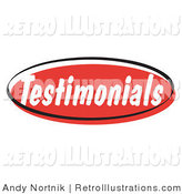 Retro Illustration of a Red Testimonials Retro Internet Website Button by Andy Nortnik