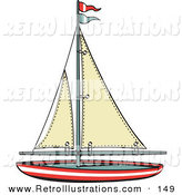 Retro Illustration of a Red Toy Sailboat with Flags by Andy Nortnik