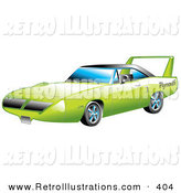 Retro Illustration of a Restored Green 1970 Plymouth Road Runner Superbird Racing Car with a Large Spoiler in the Back by Andy Nortnik