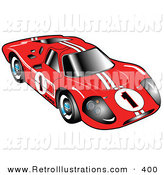 Retro Illustration of a Restored Red 1967 Ford Mark IV GT40 Racing Car with White Stripes and the Number 1 by Andy Nortnik