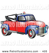 Retro Illustration of a Restored Vintage Blue and Red 1953 Chevy Tow Truck with a Light on Top of the Roof by Andy Nortnik