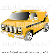 Retro Illustration of a Restored Yellow 1979 Chevy Van with Tinted Windows and Black Striping on the Side by Andy Nortnik