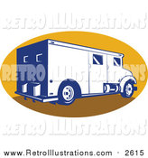 Retro Illustration of a Retro Armored Bank Van in a Yellow Oval by Patrimonio