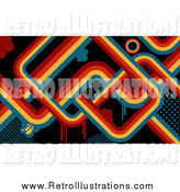 Retro Illustration of a Retro Background of Red, Orange, Yellow and Blue Lines and Drips over Black by KJ Pargeter