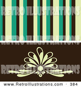 Retro Illustration of a Retro Background of Yellow, Green and Black Stipes over a Simple Floral Design by Elaineitalia