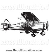 Retro Illustration of a Retro Black and White Airplane by BestVector