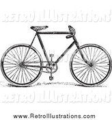 Retro Illustration of a Retro Black and White Bicycle by BestVector