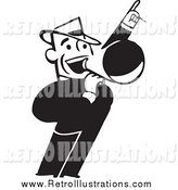 Retro Illustration of a Retro Black and White Business Man Announcing with a Megaphone by BestVector