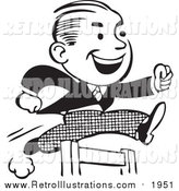 Retro Illustration of a Retro Black and White Business Man Leaping a Hurdle by BestVector