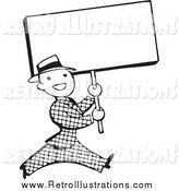 Retro Illustration of a Retro Black and White Businessman Walking with a Blank Sign by BestVector