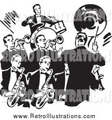 Retro Illustration of a Retro Black and White Conductor and a Band of Men by BestVector