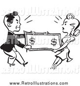 Retro Illustration of a Retro Black and White Couple Fighting over Money by BestVector