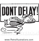 Retro Illustration of a Retro Black and White Guy Running with a Dont Delay Sign by BestVector