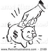 Retro Illustration of a Retro Black and White Hand Depositing a Coin into a Piggy Bank by BestVector