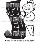 Retro Illustration of a Retro Black and White Happy Business Man Reviewing Blueprints by BestVector