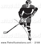 Retro Illustration of a Retro Black and White Hockey Player by BestVector