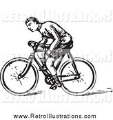 Retro Illustration of a Retro Black and White Man Riding a Bike by BestVector