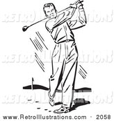 Retro Illustration of a Retro Black and White Man Swinging a Golf Club by BestVector