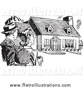 Retro Illustration of a Retro Black and White Married Couple Gazing at a House by BestVector