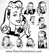Retro Illustration of a Retro Black and White Men and Women Using Phones over Gray by BestVector