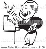 December 20th, 2013: Retro Illustration of a Retro Black and White Merchant Operating a Cash Register by BestVector