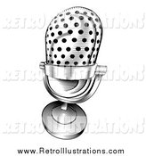 Retro Illustration of a Retro Black and White Microphone by AtStockIllustration