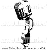 Retro Illustration of a Retro Black and White Microphone Speaker by KJ Pargeter