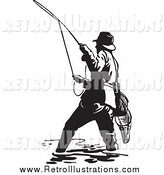Retro Illustration of a Retro Black and White Wading Fisherman by BestVector