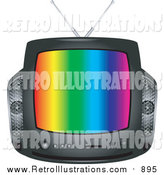 Retro Illustration of a Retro Black Box Television with Colorful Stripes by BNP Design Studio