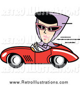Retro Illustration of a Retro Black Haired White Woman Driving a Red Convertible Car by Andy Nortnik