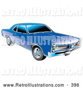 Retro Illustration of a Retro Blue 1966 Pontiac GTO Muscle Car with Crhome Detailing on the Front End and Around the Windows by Andy Nortnik