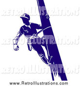 Retro Illustration of a Retro Blue Lineman on a Pole by Patrimonio