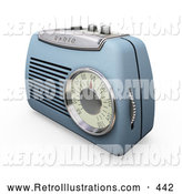 Retro Illustration of a Retro Blue Radio with a Station Dial, on a White Surface by KJ Pargeter