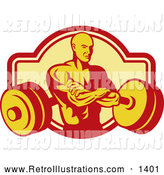 Retro Illustration of a Retro Bodybuilder with Folded Arms and a Barbell by Patrimonio